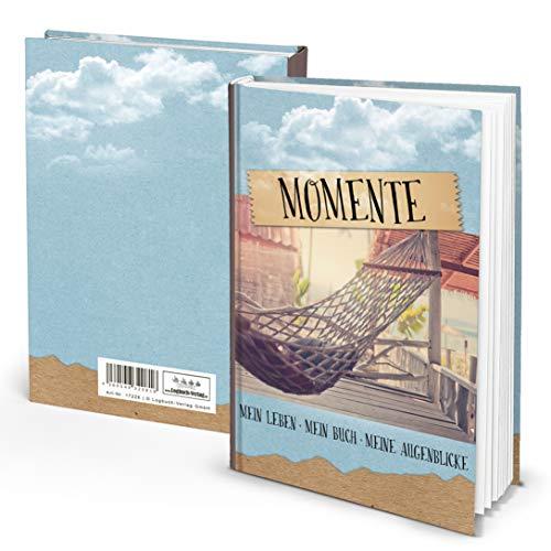 Logbuch-Verlag Notizbuch klein Tagebuch MOMENTE liniert Hardcover DIN A5 Hängematte Reisetagebuch zum Selberschreiben Geschenk Weihnachten Geburtstag