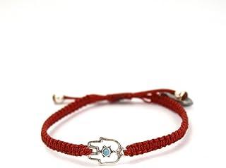 95e678e3f6ea Rojo macramé pulsera con plata de ley mano de Fátima encanto – ajustable  para las mujeres