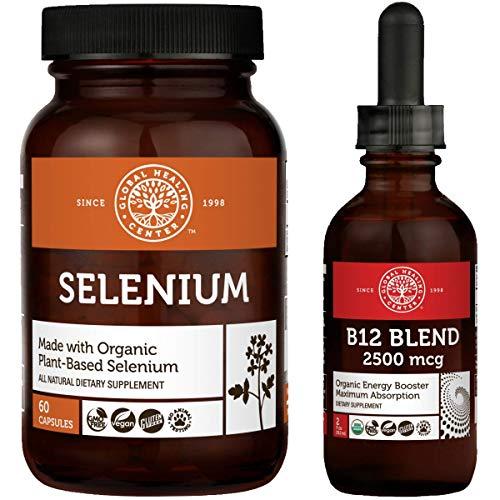 Global Healing Selenium & B12 Blend Kit - Vegan Antioxidant Supplement for Thyroid Support & Normal Immune System Health and Organic Sublingual B12 Vitamin Supplement Drops - 60 Capsules & 2 Fl Oz