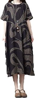[エイチユーエー] H.U.A 2カラー M-2XL ワンピース 大きいサイズ 半袖 チュニック 体型カバー マタニティ ロング リネン 可愛い レディース