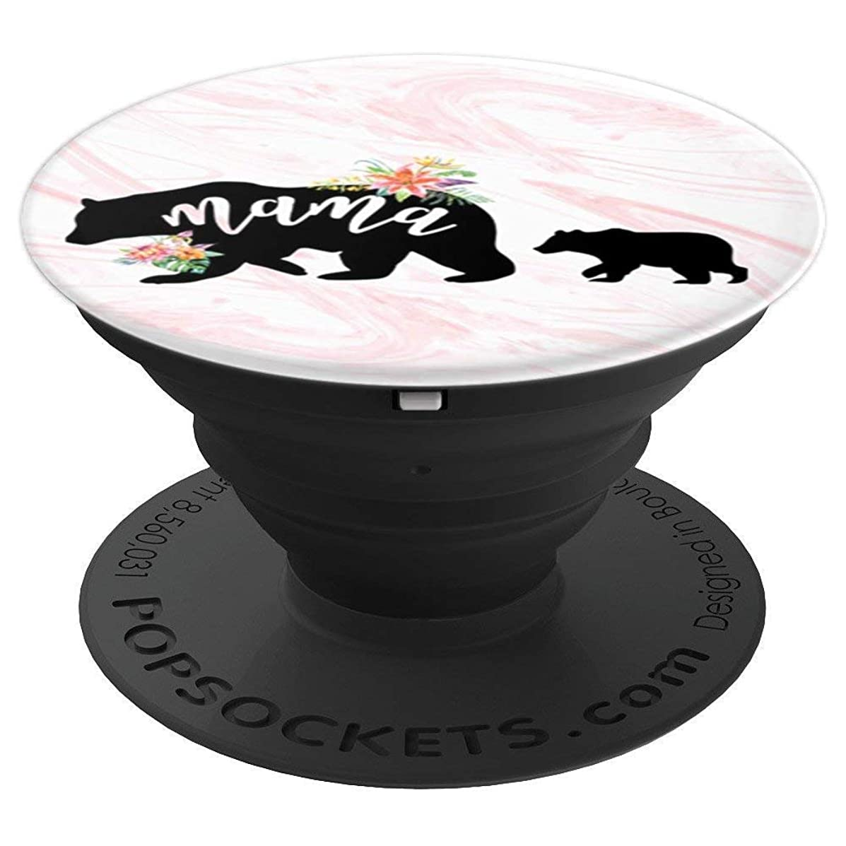 Mama Bear One Cub Rose Gold Floral Marble Mother's Day Mom - PopSockets Grip and Stand for Phones and Tablets