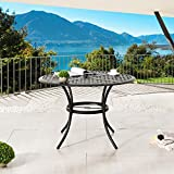 LOKATSE HOME Round Metal Patio Dining Outdoor Bistro Wrought Iron Tables with Umbrella Hole, Black