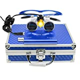 3.5×420mm Surgical Medical Binocular Loupes Optical Glasses with 3W LED Headlight Lamp Filter+ Aluminum Box for Dental, Surgical, Jeweler, or Hobby | Adjustable Pupil Distance (Blue)