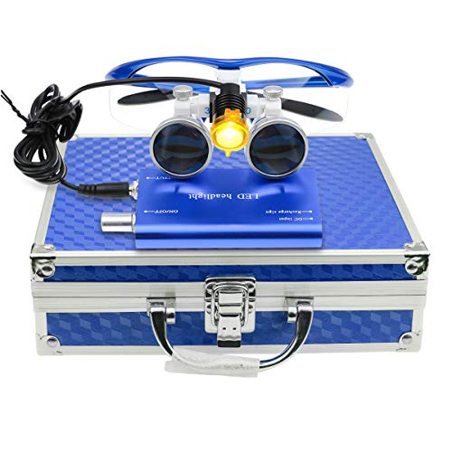 3.5×420mm Surgical Medical Binocular Loupes Optical Glasses with 3W LED Headlight Lamp Filter+ Aluminum Box for Dental…