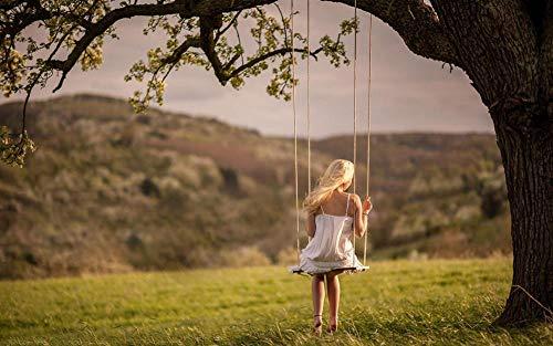 Malen nach Zahlen Malerei DIY digitales Kit Leinwand Kunstwerk Gemälde Geschenke Dekorationen (40X50 cm) Rahmenlos--Mädchen das auf Einer Schaukel unter dem großen Baum sitzt