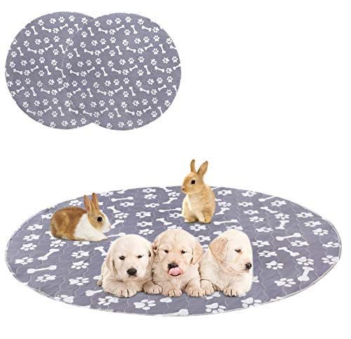 Geyecete Washable Small Dog Puppy Pads Waterproof Whelping Pads, Reusable Dog Training Pads,Premium Travel Puppy Pads Rabbit Pad(2pack)-Gray-Round