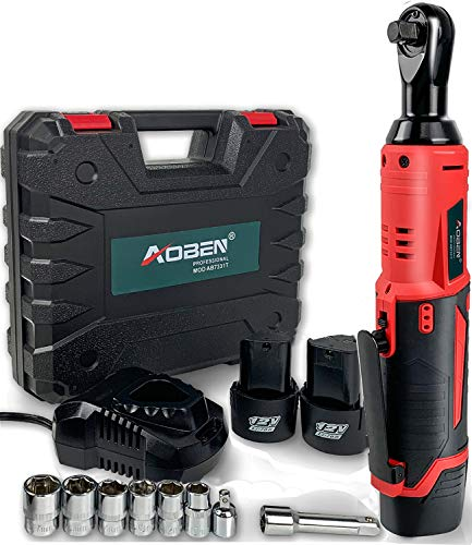 Cordless Electric Ratchet Wrench Set, AOBEN 3/8' 12V Power Ratchet Tool Kit with 2 Packs 2000mAh Lithium-Ion Battery and Charger