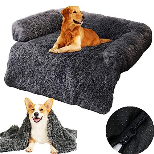 Sofaschutz Hund, Hundebett L XL XXL Hundebett Abwaschbar Hundedecke Couch Flauschig Weich Kuschelig Hundebetten Couchkissen, Hundebett für Grosse Mittelgroße Kleine Hunde/Katzen ,Dark gray,115cm