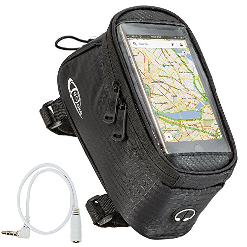 TecTake Handy Rahmentasche Oberrohrtasche wasserabweisend Navigation Halterung für Fahrrad - Diverse Farben und Größen - (Schwarz   Größe L   Nr. 401615)