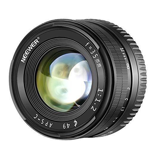 Neewer 35 mm f/1.2 Standardobjektiv, große Blendenöffnung, Prime APS-C, für Sony E-Mount spiegellose Kameras A6500 A6300 A6100 A6000 A5100 A5000 A9 NEX 3 NEX 3 NEX 5 NEX 5T NEX 5R NEX 6 7