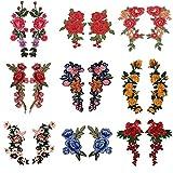 shiy Parches 2-Piezas Conjunto de Rosas Bordadas Cosido Encendido/Hierro del Applique del Remiendo de Bricolaje Etiqueta Badge Crafts Plancha en Parches para Ropa (Color : 21 Iron)