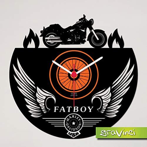 Gravinci.de Schallplatten-Wanduhr Harley Fatboy