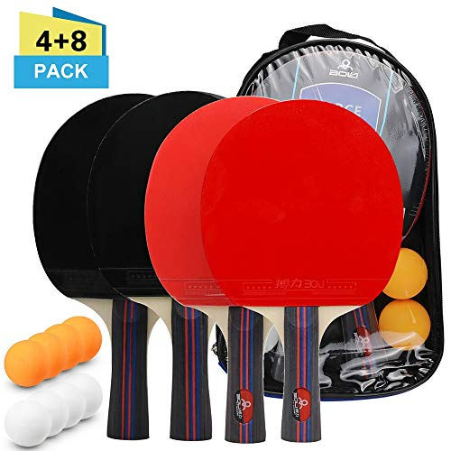 Find Discount Walled King Table Tennis Ball and Bat Set 4 Ping Pong Bats 8 Ping Pong Balls Pack Ping...