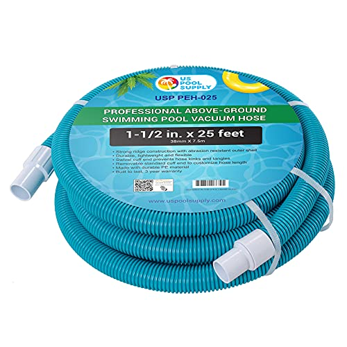 """U.S. Pool Supply 1-1/2"""" x 25 Foot Professional Above Ground Swimming Pool Vacuum Hose with Swivel Cuff - Removable Cuff, Cut to Fit - Compatible with Filter Pumps, Filtration Systems, Chlorinators"""