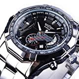 Excellent Herren Automatische Mechanische Mode Skelett Tourbillon Uhr mit Edelstahl Mode Freizeit Metallarmband Armbanduhr Leuchtend Hände