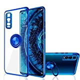 Find X2 Pro Hülle for Oppo, [mit 360 ° Ringständer Eine Klammer] Kristallklar [Galvanische Metall Farbe] Silikon Weich TPU Ultra dünn (Find X2 Pro, Blau)
