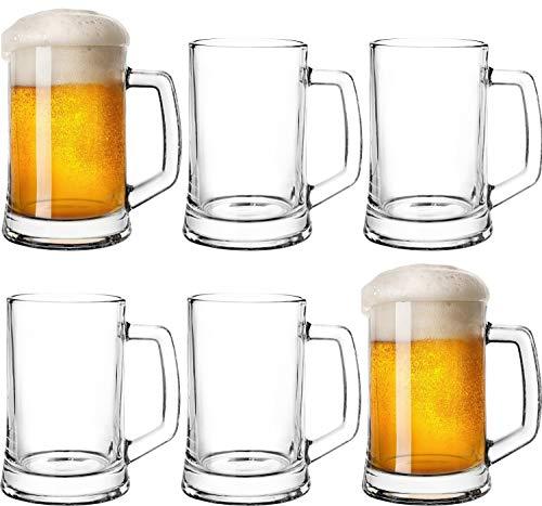 Boccale da birra con manico, 0,5 l, set da 6 pezzi, per Oktoberfest, boccale misuratore in vetro, birra, birra Grade, trasparente