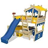 WICKEY Litera CrAzY Castle Cama infantil doble 90x200 Cama alta con tobogán, escalera, techo y somier, azul-amarillo + tobogán azul