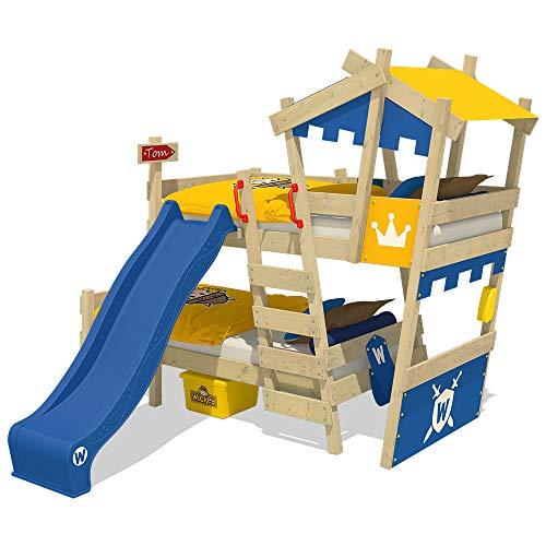 Wickey CrAzY Castle stapelbed, dubbel kinderbed, 90 x 200, hoogslaper met glijbaan, trap, dak en lattenbodem, blauw-geel + blauwe glijbaan