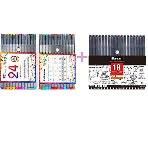24 Vibrant Colors Fineliner Pens with 18 Black Fineliner Pens Fine Point Pens Colored Pens for Journaling Note Taking Writing Drawing Coloring Planner Calendar