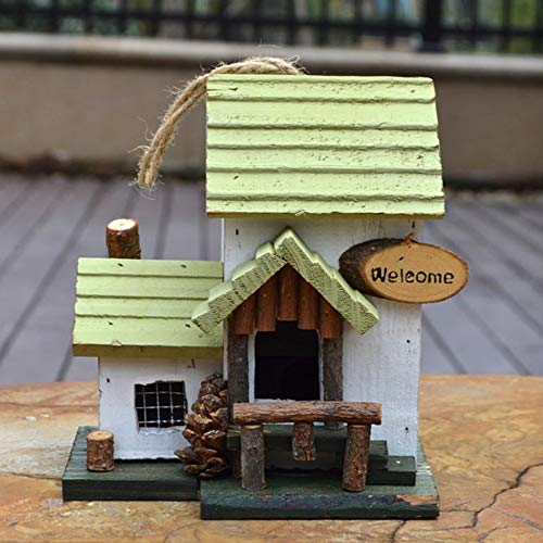 Vogelhuisje Retro Houten Hangende Bird House For De Garden Unique Novelty Bird Nestkast Tuindecoraties Bird Hotel Cabin For Wilde Vogels Vogelbenodigdheden (Color : White, Size : 17x15x19CM)