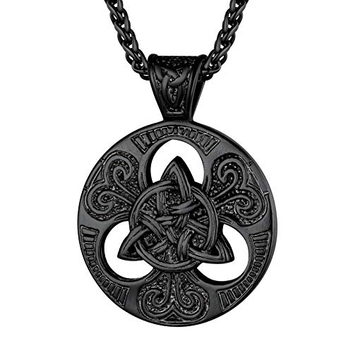 PROSTEEL Black Stainless Steel Mens Celtic Knot Pendant Necklace Trinity Viking Irish Men Jewelry Triquetra Necklace