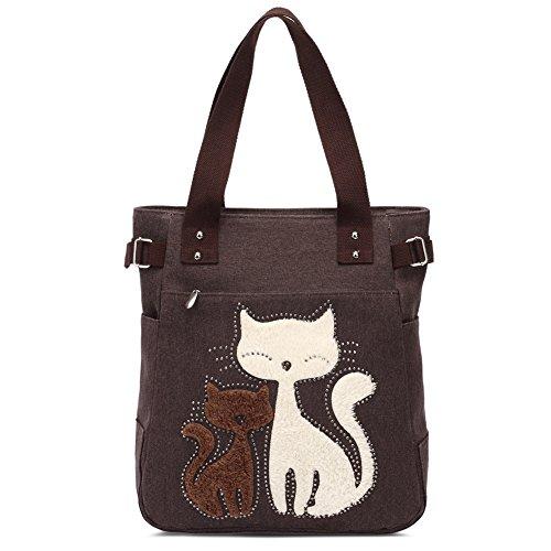 Damen Schultertasche Canvas Handtasche Niedliche Katzen Tasche (Kaffee)