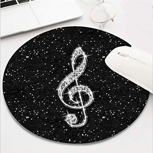 Computer Gaming Mouse Pad Waterproof Non-Slip Rubber Material Round Mouse Mat for Office and Home(8 Inch)-Glitter Sparkly Diamond Music Note