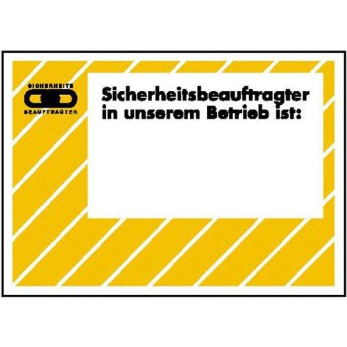 Aushang - Arbeitssicherheit Sicherheitsbeauftragter in unserem. zur Selbstbeschriftung Größe (BxH): 29,7 x 21,0 cm Aluminium hart, 0,56 bis 1,0 mm
