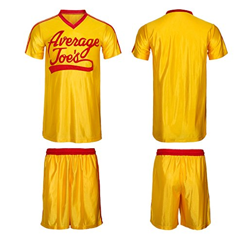 Dodgeball Joe's Yellow Jersey & Shorts Adult Men Women Average Gym Halloween Costume Set (Medium)