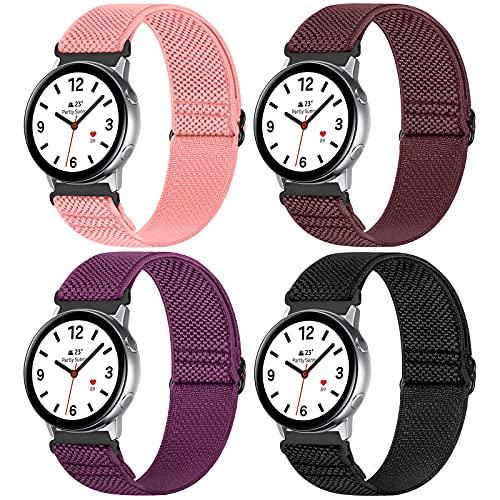 WNIPH 20mm Armband Kompatibel mit Samsung Galaxy Watch Active 2(40mm/44mm)/Watch 3 41mm/Watch 42mm/Gear S2,Einstellbares Elastisch Nylon Geflochtene Solo Loop Armbänder Weiche Sport Uhrenarmband