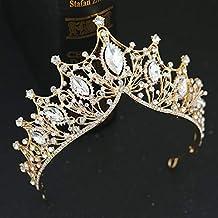Crystal Tiara Crown for Women, Prom Queen Crown Gold Bride Rhinestone Princess tiara