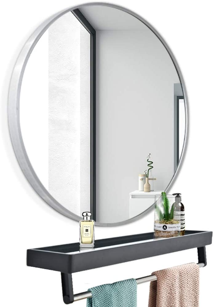 Round Bathroom Mirror Outstanding Aluminum Alloy Super special price Rack Storage with Frame Liv