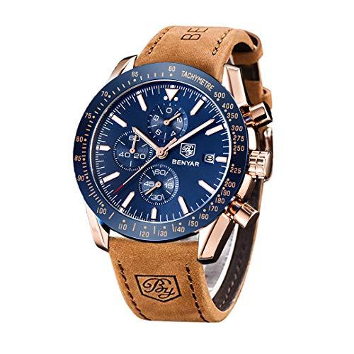 BENYAR - Reloj cronógrafo clásico y elegante, con estilo casual, deportivo, correa de cuero, para hombre, 5140L, Marrón-Azul