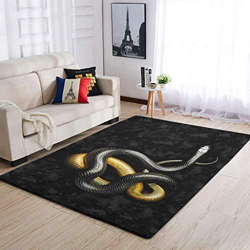 YOUYO Spark Alfombra S-nake B-lack Ye-llow antideslizante de goma - Popular piso alfombra para habitación de estudio. habitación infantil