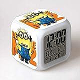 Lonfencr Reloj despertador resplandor luz LED 7 colores cambiantes Minions Digital despertador reloj niños s juguete niños s juguete