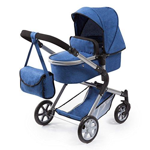 Bayer Design 18135AA poppenwagen City Neo met luiertas en boodschappenmand, om te zetten in een sportwagen, in hoogte verstelbaar, blauw