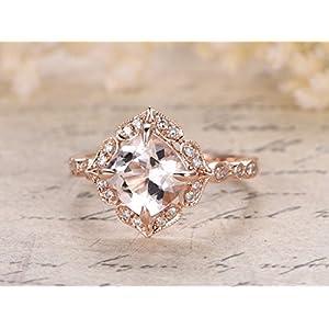 1.25 Carat Antique Elegant Design Round Cut Morganite and Diamond Engagement Ring In Rose Gold