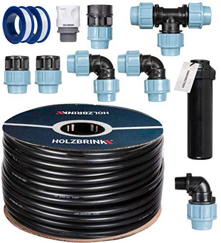 HOLZBRINK Start Set Bewässerungssystem Rasenbewässerung inkl. 20 m LDPE Verlegerohr 25 mm, 1x Versenkregner, HTB-11-1-20