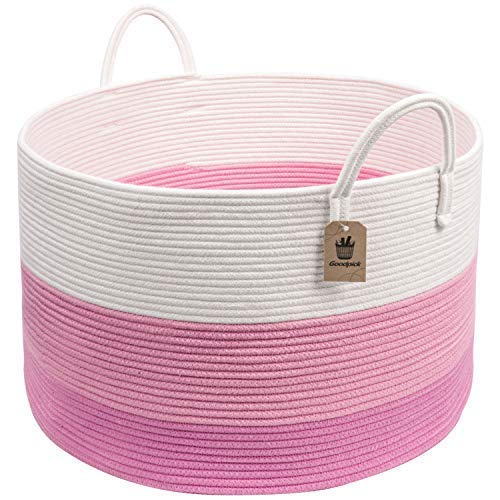 INDRESSME XXXLarge Pink Woven Rope Basket  Wide 20 x 14 Blanket Storage Basket with Long Handles Decorative Clothes Hamper Basket  Extra Large Baskets for Blankets Stuffed Animal Storage Basket