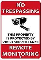 エンジニアグレードのブリキ看板、ビデオ監視Mで保護された立ち入り禁止のプロパティ、ガレージオフィスクラブバーウォールアートカフェホームペインティングデコレーションに適したレトロメタルスズポスター