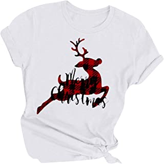 T-Shirts for Ladies,Women's Christmas Letter Printed Round Neck Short Sleeve T-Shirts Casual Tops Blouses