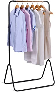 JEFEE Garment Rack Hang Clothes Rack Simple Garment Rack for Garment Storage Display, Heavy Duty Metal Clothes Rack, Hang Clothes Rack Covers a Small Area, Simple and Fashionable, Black