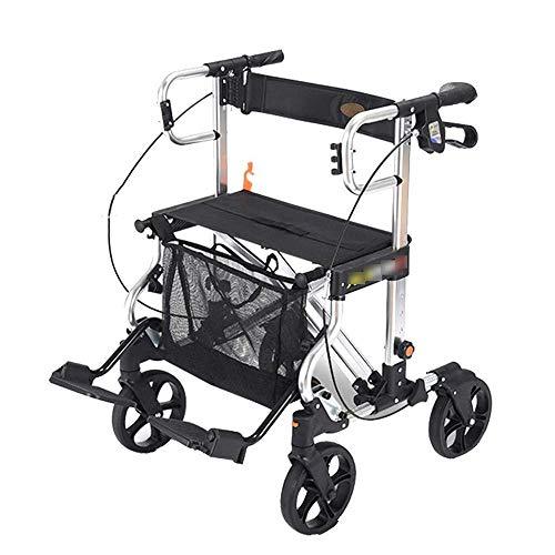 LLSS Leichter zusammenklappbarer Einkaufswagen aus altem Wagen, Aluminiumlegierungsrad mit gepolstertem Sitz und tragbarer Vinyl-Befestigungstasche Allrad-Walker
