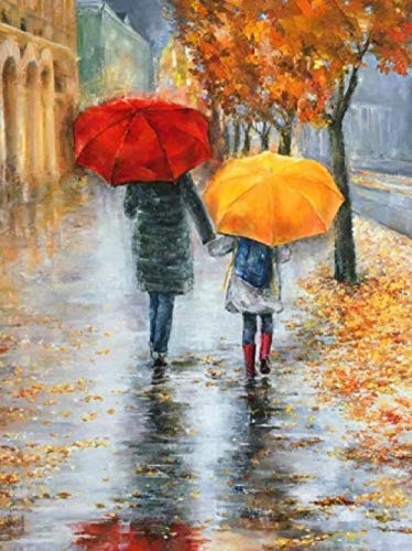 5D DIY Diamond Painting,Red Umbrella, Mother and Child, Rainy Day, Fallen Leaves_30 X 40 cm,Pictures Arts Craft for Home Wall Decor