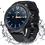 Smart Watch for Women Men,Fitness Tracker with Heart Rate,Blood Pressure,Blood Oxygen,IP67 Waterproof Pedometer Smartwatch with Sleep Tracker,Steps,Music,Weather Forecast for Android iPhone(Black)