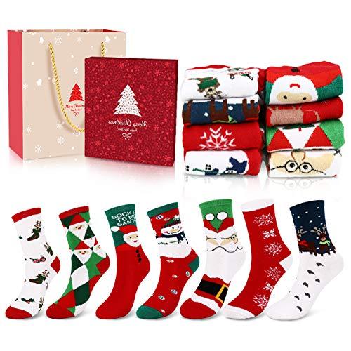 Emooqi Calze Natalizie Donna, 8 Coppie Calze Natale di Cotone Calzini Natalizi per Natale Regalo di Natale con Confezione Regalo - EU Dimensione 35-42 per Adulti