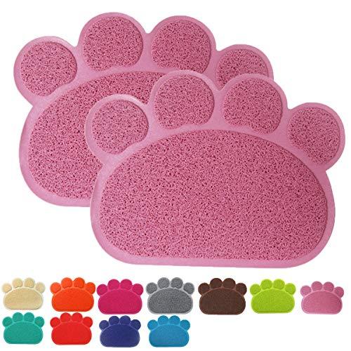 Premium Pet Tappetini Sottociotola per Cibo per Cani e Gatti, Impermeabile Antiscivolo Pet Feeding Bowl Pet Litter Trey Tappetino per Gatto e Cane, Piccolo, Set di 2, Purpureo