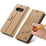 Samsung Galaxy S8 Case,WaterProof Kraft Paper Leather Wallet Case [Magnetic Closure] [Car Holder] [Card Slot] [Kickstand] [DIY Feature] Folio Flip Cover (Samsung Galaxy S8 (5.8'), Brown)