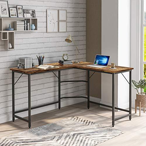 Ironhorse Mesa de esquina para ordenador de escritorio, grande, en forma de L, para oficina, escritorio, de trabajo, con marco de metal para ahorrar espacio